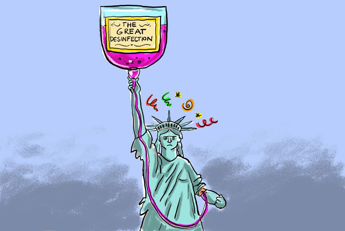 Desinfektionsmittel Spritzen Trump